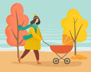 Woman strolling with baby pram in autumn park. Mother taking care about her child in orange carriage. Walking in forest, wood or lawn. Trees with yellow leaves and foliage, fall weather illustration