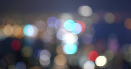 Wall Mural - Hong Kong city at night, from unfocused to focus