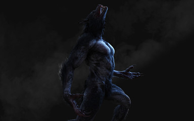 3d Illustration of a werewolf on dark background with clipping path. Wall mural