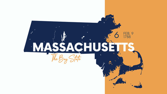 6 of 50 states of the United States with a name, nickname, and date admitted to the Union, Detailed Vector Massachusetts Map for printing posters, postcards and t-shirts
