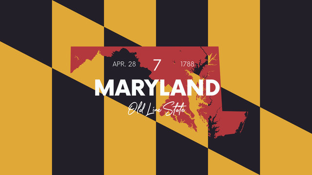 7 of 50 states of the United States with a name, nickname, and date admitted to the Union, Detailed Vector Maryland Map for printing posters, postcards and t-shirts