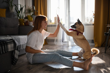 Excited woman giving high five to dog