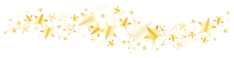 Bordüre Große Und Kleine Glänzende Stern Gold