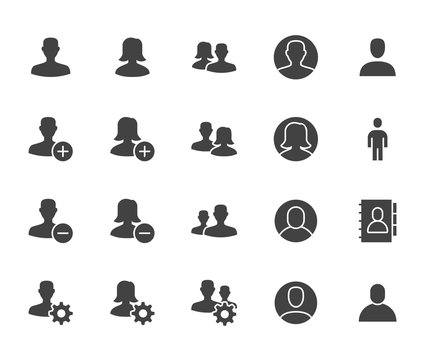 People icons, simple flat glyph set. Man, woman avatar, user profile, contact person, team vector illustrations. Black signs for social network, web site. Silhouette pictogram pixel perfect 64x64