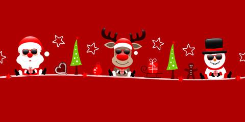Wall Mural - Banner Weihnachtsmann Rentier Und Schneemann Mit Sonnenbrille Icons Rot