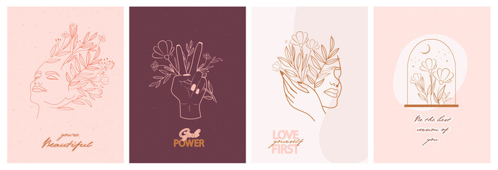 Set of motivation and inspiration posters with abstract leaf and flower elements, hands and girl portrait in one line style. Illustration in minimalistic style. Editable vector illustration