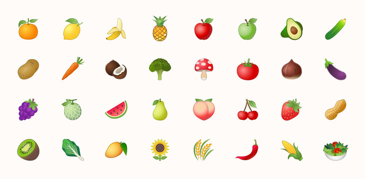Fruits vector icons set. Fruits are apple, lemon, banana, orange, pear, pineapple, grapes, cherries, strawberry, and blueberries emojis collections