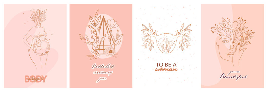 Set of motivation and inspiration posters with abstract leaf and flower elements, woman body and girl portrait in one line style. Illustration in minimalistic style. Editable vector illustration