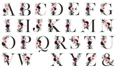 Fototapeta Alphabet, letters with watercolor flowers and leaf hand painting. Floral monogram initials perfectly for wedding invitation, greeting card, logo, poster and other design.  obraz