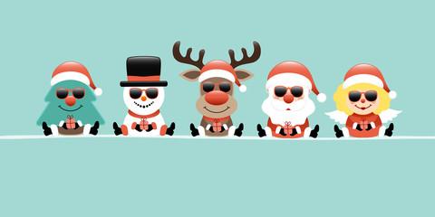 Wall Mural - Banner Baum Schneemann Rentier Weihnachtsmann Und Engel Mit Sonnenbrille Türkis