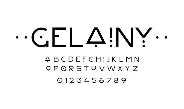 Creative sans serif font. Stylized geometric lettering. Vector Illustration. EPS 10
