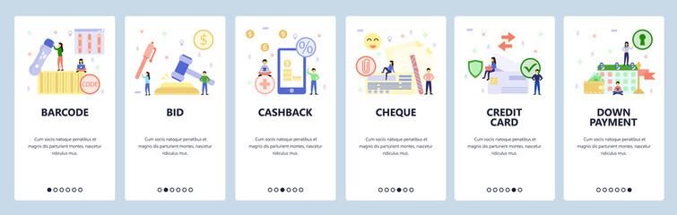 Mobile app onboarding screens. Auction bid, cashback, credit card, cheque, down payment, loan schedule. Vector banner template for website and mobile development. Web site design flat illustration