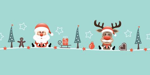 Wall Mural - Sitzender Weihnachtsmann Und Rentier Mit Bart Icons Türkis