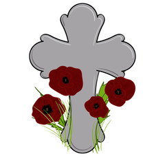 Poppies by a Cross