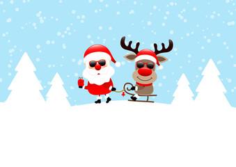 Wall Mural - Weihnachtsmann Zieht Schlitten Mit Rentier Sonnenbrille Schnee Wald Blau