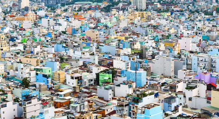HO CHI MINH, VIETNAM - September 23 2019 : Panorama view of ho chi minh city from District 4 with development buildings, transportation. Vietnam is the fastest-growing of the world.