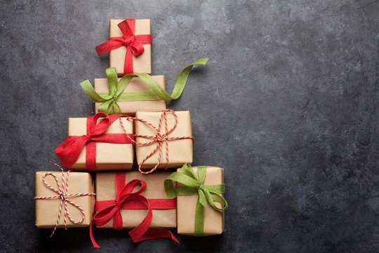 Christmas card with various gift boxes