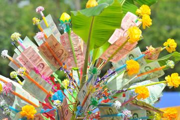 Donation Merit Money Tree at Thai Temple.