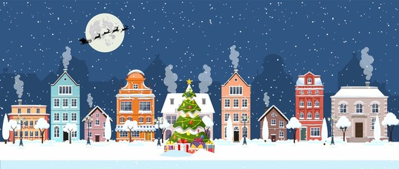 happy new year and merry Christmas winter old town street. christmas town city panorama. Santa Claus with deers in sky above the city. Vector illustration in flat style Fotomurales