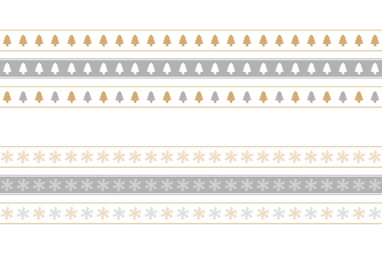 christmas seamless border set with tree and snowflake pattern vector illustration EPS10