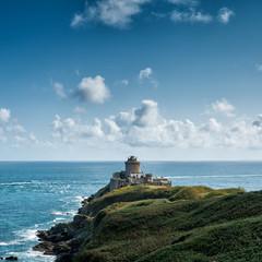 In de dag Blauwe jeans historic Fort La Latte Fortress on the Emerald Coast of France