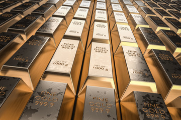 Gold bars or ingot - financial success and investment concept