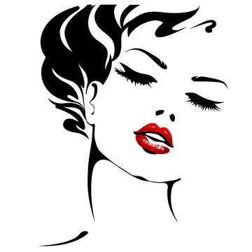 Woman. Female face with red lips. Vector portrait isolated on white background
