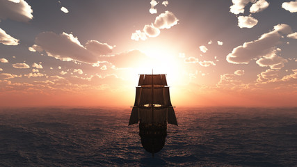 Poster Ship old ship sunset at sea