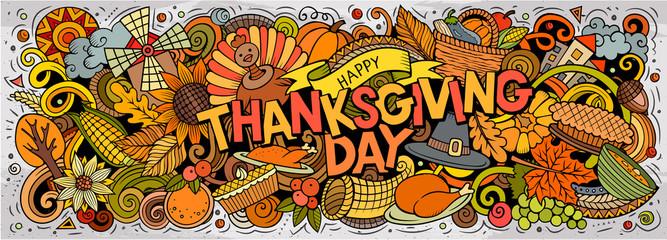 Happy Thanksgiving hand drawn cartoon doodles illustration.