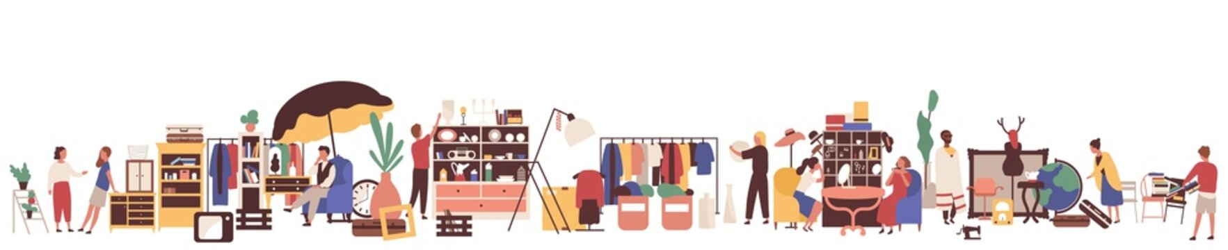 Flea market flat vector illustration. Customers and sellers cartoon characters. Clothing and vintage goods retail business. Garage sale, second hand shop. Merchandise and consumerism concept.