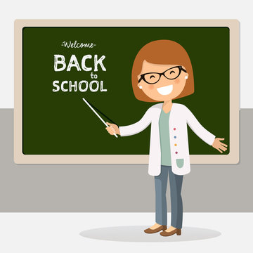 Back to school teacher vector illustration