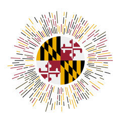 Maryland sign. Us state flag with colorful rays. Radiant sunburst with Maryland flag. Vector illustration.