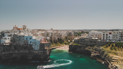Door stickers Fortification Polignano a Mare, Italy birds eye view from a drone
