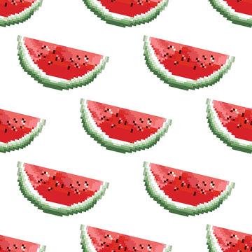 Watermelon pattern vector. Pixel art. 8 bit. Cute seamless vector pattern with watermelons and dots.