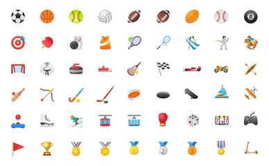 All of Sport Vector Icons Set. Activities Emojis Vector Illustration Realistic Emoticons Collection, Group, Big package.
