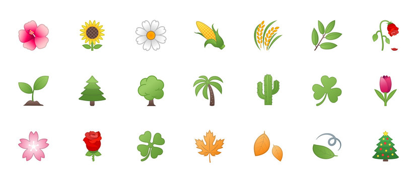 Nature, Plant Icons Vector Set. Trees, Flowers, Leaves Illustration Realistic Symbols, Emojis, Emoticons Collection