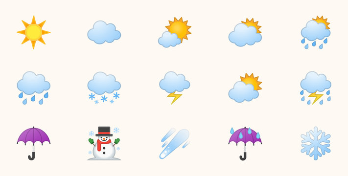 Weather Icons Vector Set. Temperature, Cloud, Sky Symbols Set. Sunny, Cloudy, Rainy, Stormy, Hot Degree Sun Illustrations