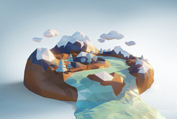 Low polygonal geometric winter trees and island.