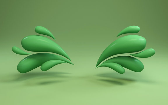 3d background rendering of colorful liquid green drops frame. Scene in bold green illuminated studio