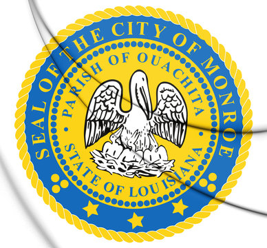 3D Seal of Monroe (Louisiana), USA. 3D Illustration.