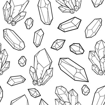 crystal, vector illustration isolated on white background, element for esoteric, boho and magic design