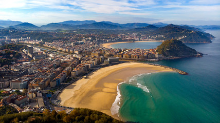 San sebastián donostia foto aérea playa zurriola playa de la concha