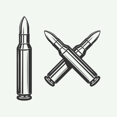 Set of vintage retro bullets. Can be used for logo, emblem, badge, poster design. Line woodcut style. Monochrome Graphic Art. Vector Illustration.