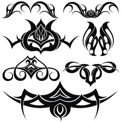 Tribal tattoo designs. Set of vector illustrations