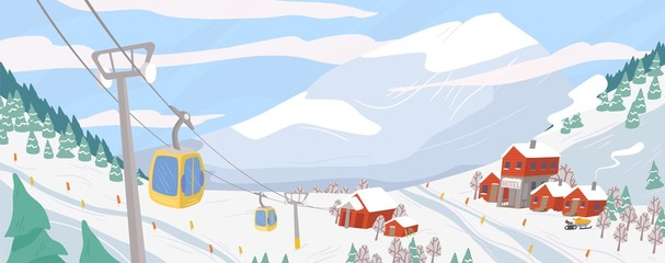 Foto auf Leinwand Himmelblau Beautiful ski resort flat vector illustration. Mountain winter landscape with chairlift for downhill skiing, snowboarding and extreme sports. Seasonal recreation spot. Active lifestyle concept.