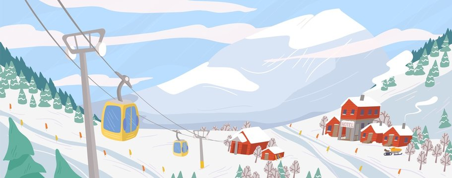 Beautiful ski resort flat vector illustration. Mountain winter landscape with chairlift for downhill skiing, snowboarding and extreme sports. Seasonal recreation spot. Active lifestyle concept.
