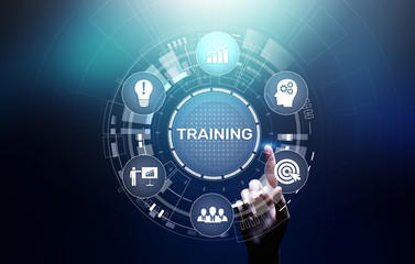 Training Online Education Webinar Personal Development Motivation E-learning Business concept on virtual screen.