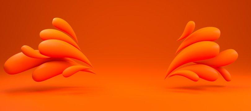 3d background rendering of colorful liquid orange drops frame. Scene in bold orange illuminated studio.