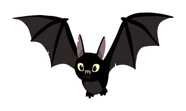 cute flying black bat. illustration isolated on flat background. halloween party