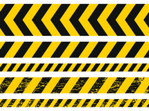 Seamless grunge security yellow black diagonal stripes. Safety danger signs.Warn Caution symbol. Isolated on white background.